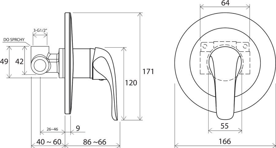 Смеситель встроенный  без переключателя  Ravak Rosa RS 062.01, X070015
