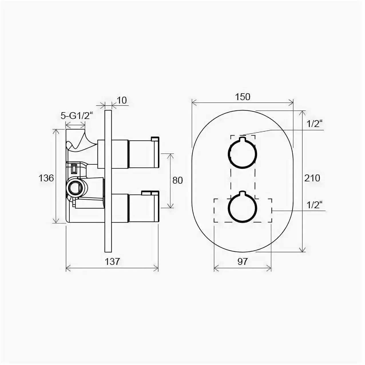 Смеситель термостатический скрытого монтажа Chrome без переключателем CR 064.00, X070095