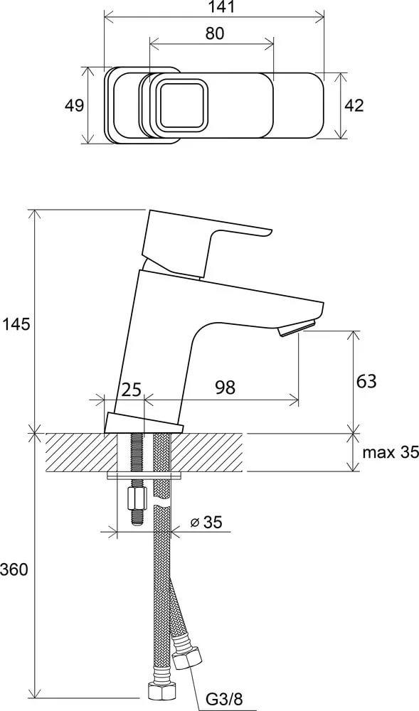 Смеситель для умывальника без донного клапана Ravak 10°, 140 мм TD 012.00, X070064