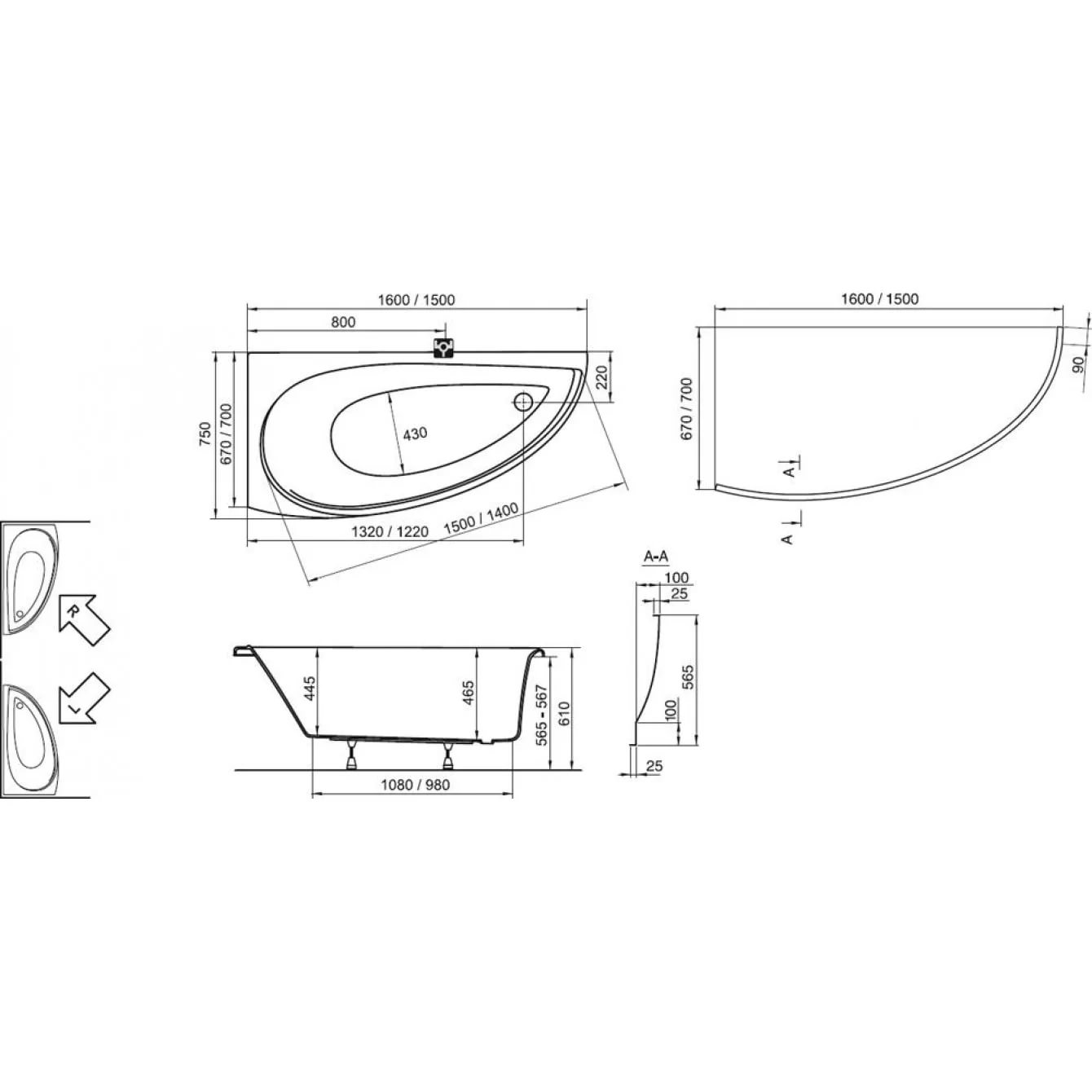 Ванна Ravak Avocado 160х75 асимметричная правая, CH01000000