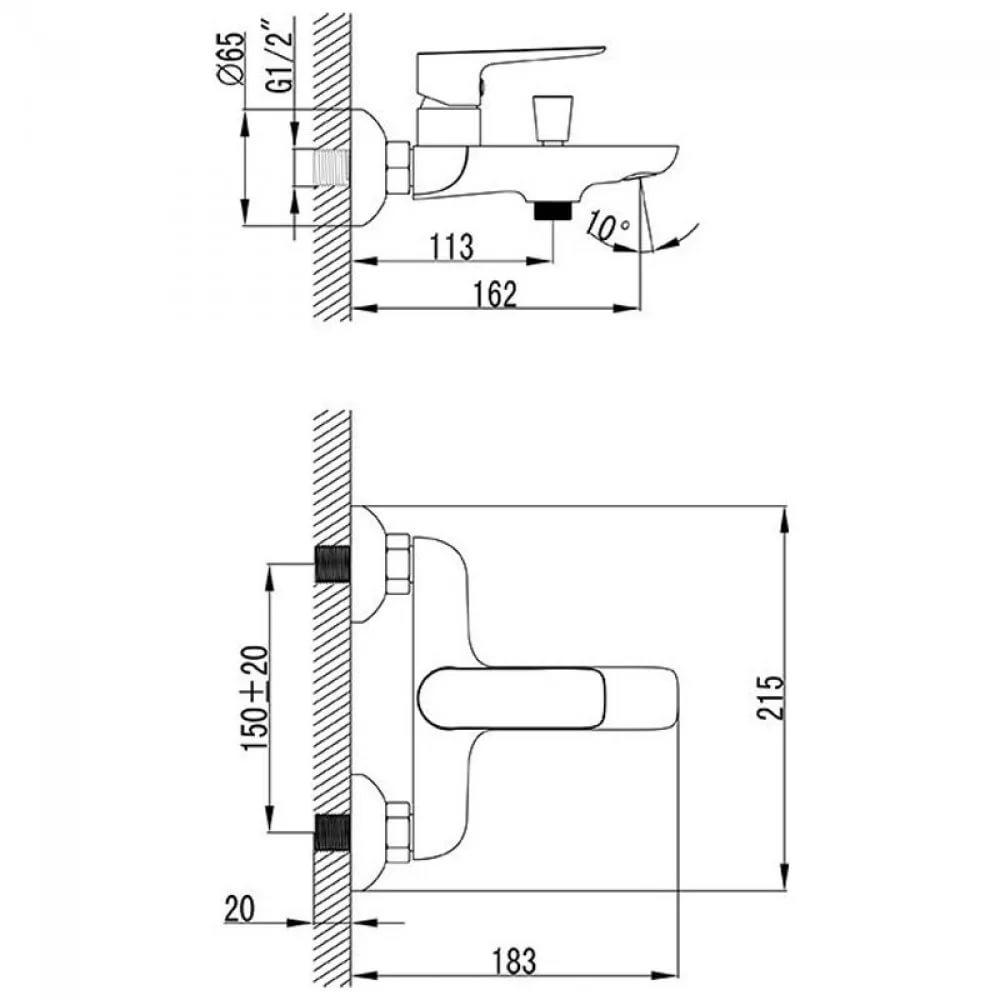 Смеситель для ванны CL 022.00/150 150 мм, X070083