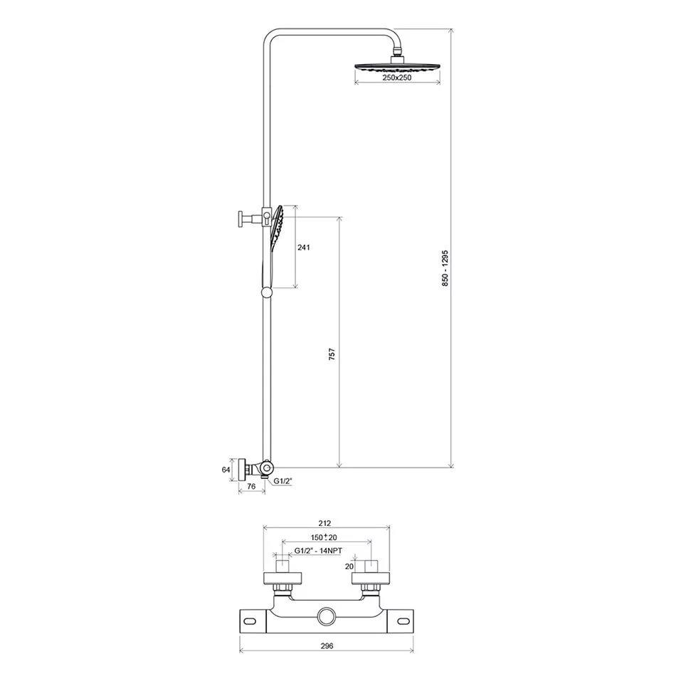 Душевая стойка с термостатическим смесителем и ручным душем Termo 300 TE 093.00/150, X070099