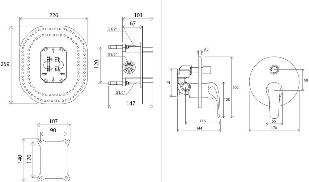 Смеситель скрытого монтажа c переключателем Ravak Rosa RS 065.01, X070050
