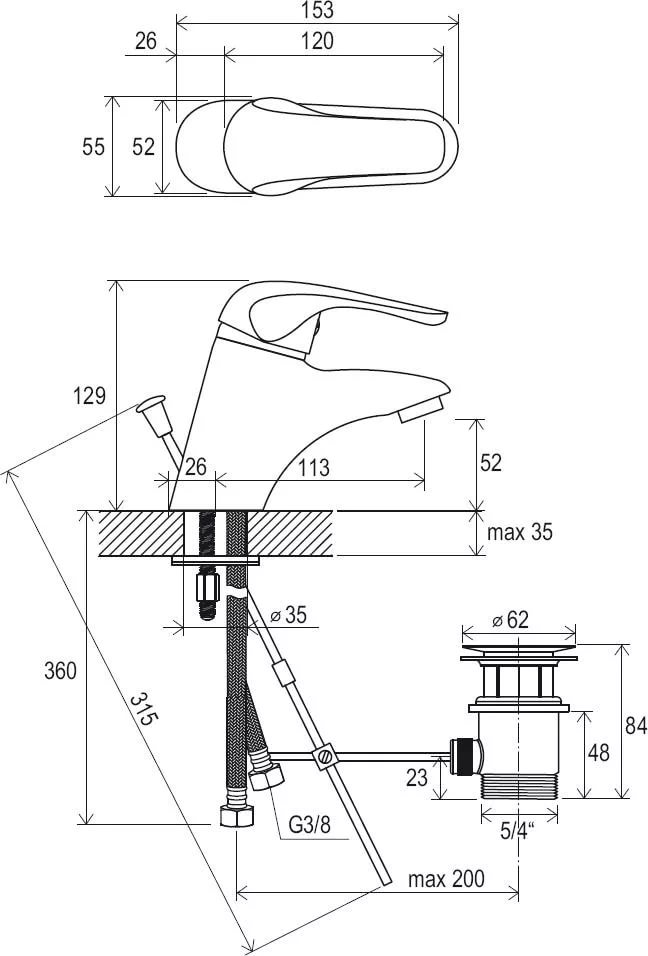 Смеситель для умывальника с донным клапаном Ravak Rosa RS 011.00, X070010