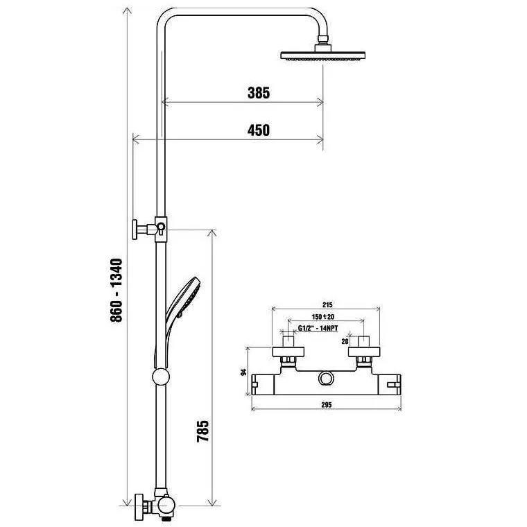 Душевая стойка с термостатическим смесителем и ручным душем TE 091.00/150, X070058