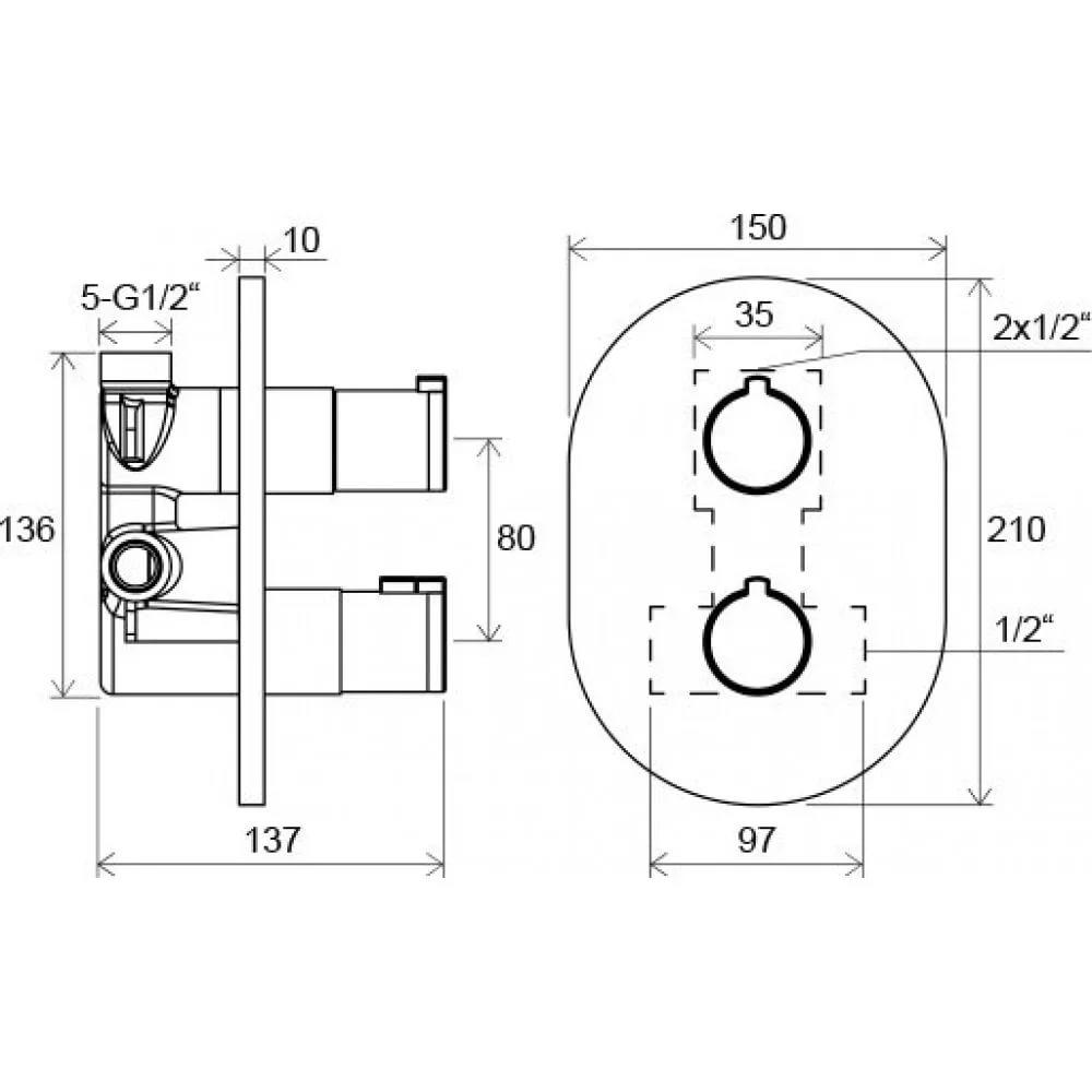Смеситель термостатический скрытого монтажа Chrome с переключателем ванна/душ CR 063.00, X070094