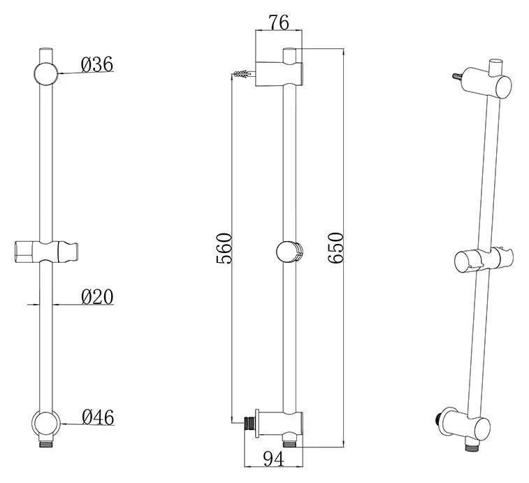 Душевой держатель подвижный 60 см 975.00, X07P342