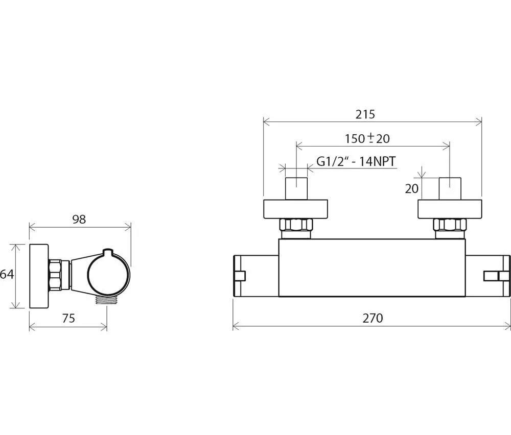 Смеситель настенный термостатический для душа без гарнитуры Ravak Termo TE 072.00/150, X070051