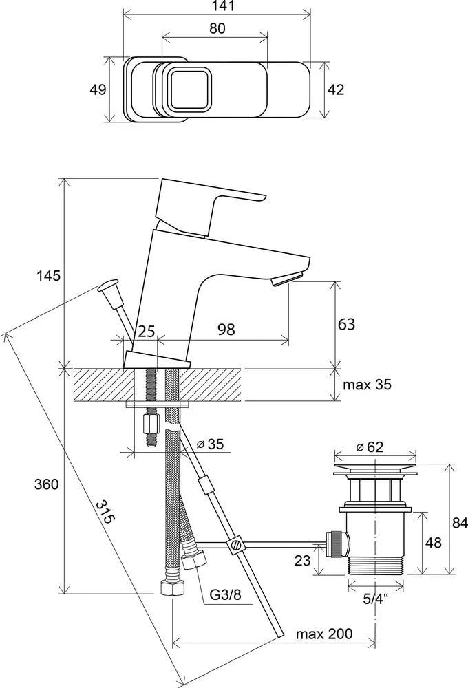 Смеситель для умывальника с донным клапаном Ravak 10°, 140 мм TD 011.00, X070063