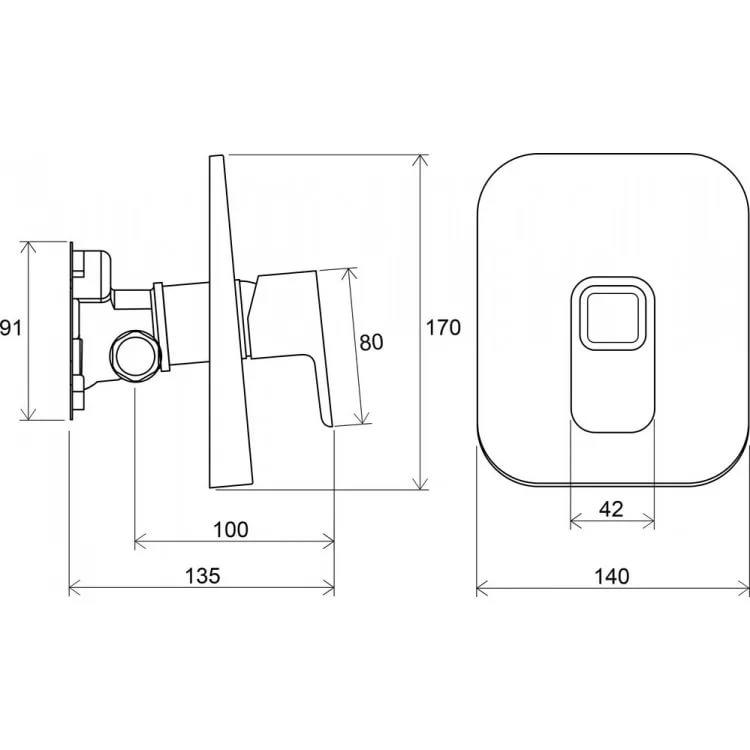 Смеситель встроенный для душа без переключателя для R-box TD 066.00, X070071