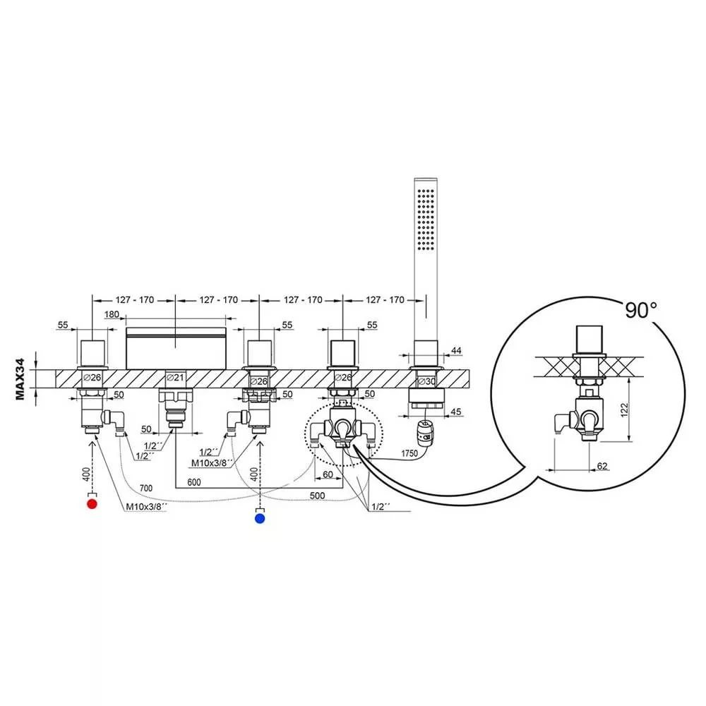 Смеситель врезной каскадный для ванн Ravak WF 025.00, X070060