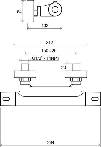 Смеситель настенный термостатический для душа без гарнитуры Ravak Termo 300 TE 033.00/150, X070096