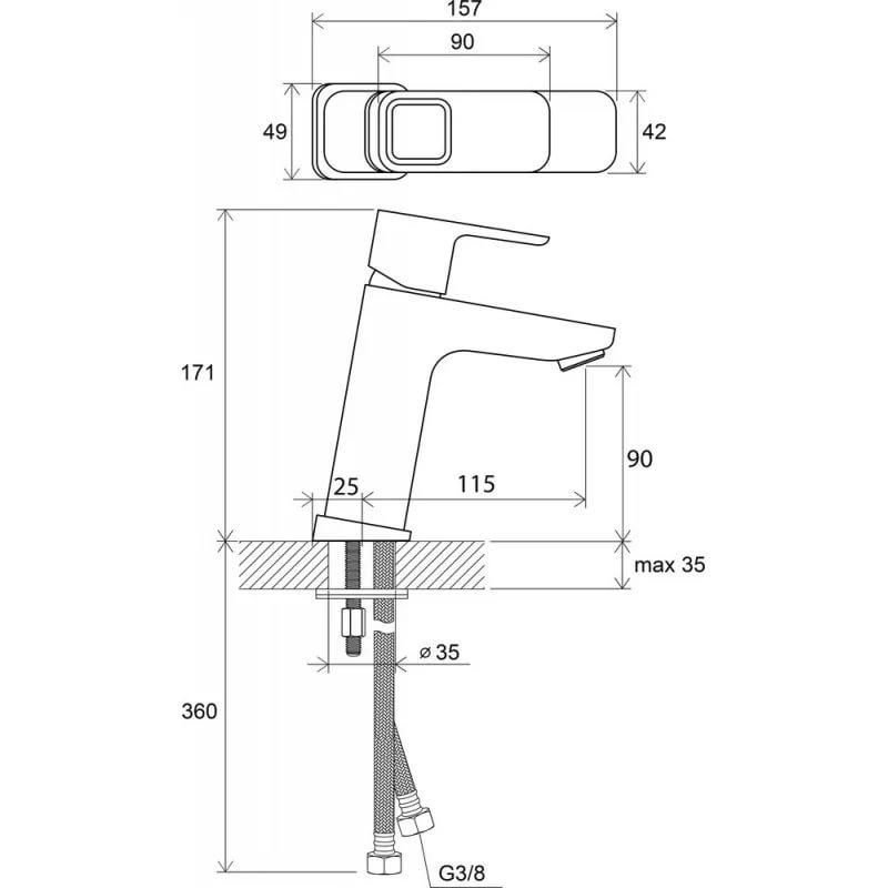 Смеситель для умывальника без донного клапана Ravak 10°, 170 мм TD 014.00, X070062