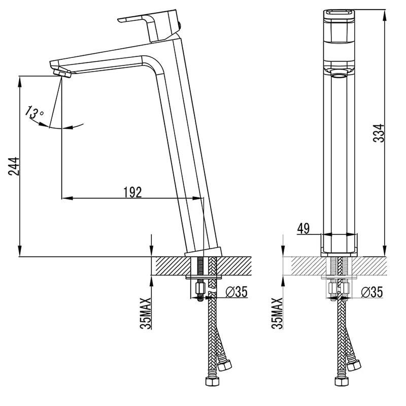 Смеситель для умывальника высокий без донного клапана Ravak 10°, 333 мм TD 015.00, X070091