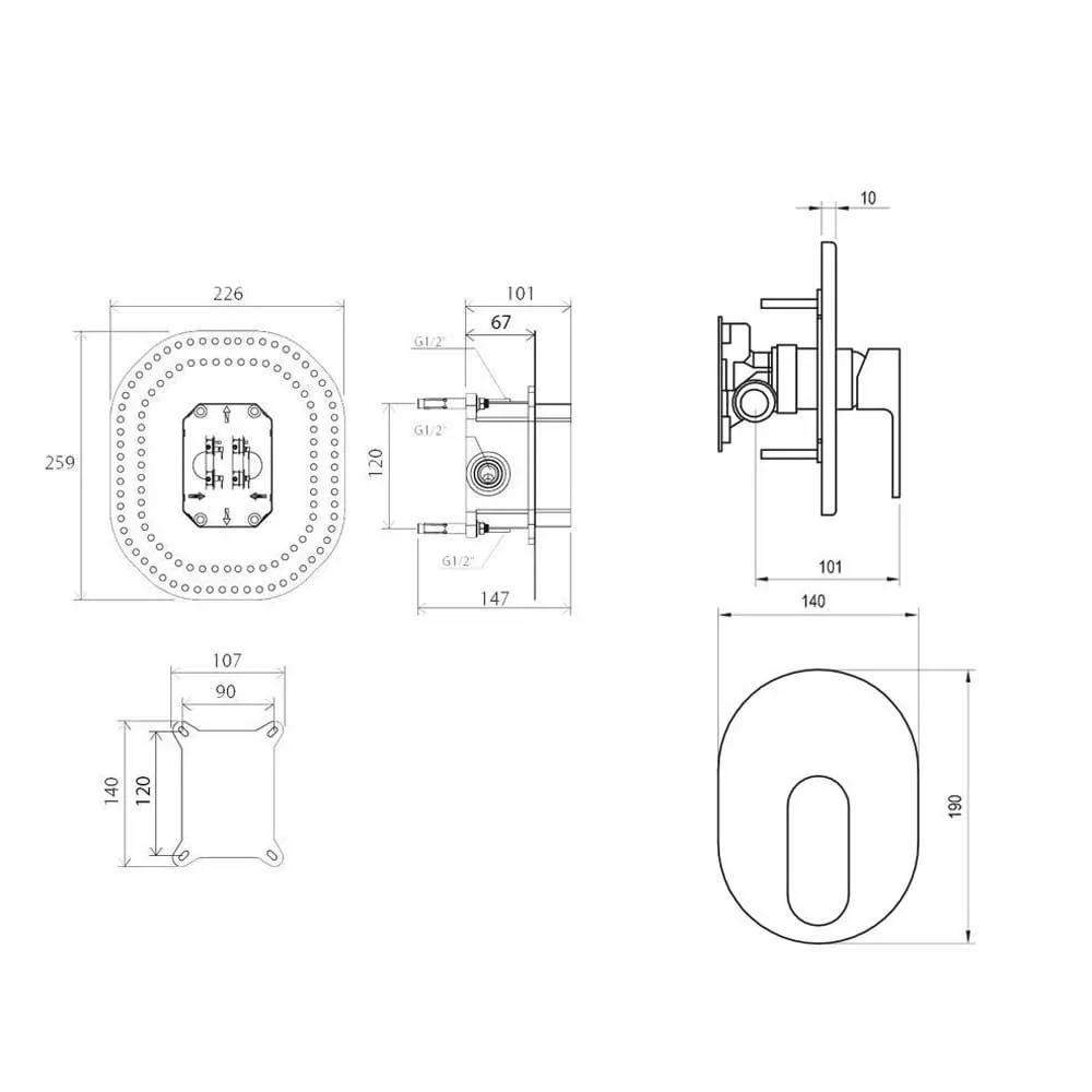 Смеситель встроенный без переключателя CR 066.00, X070057