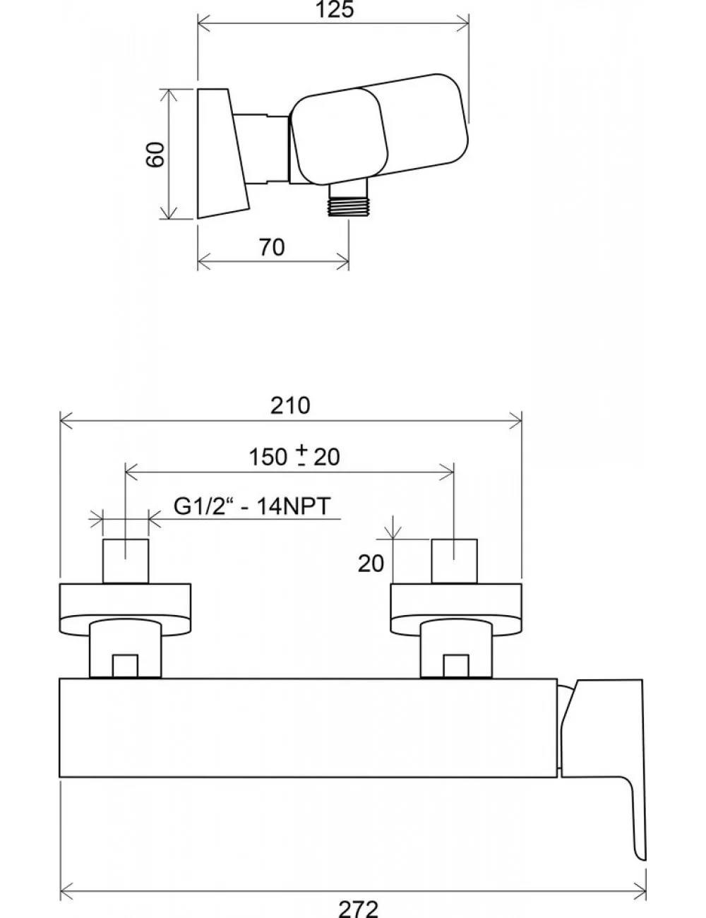Смеситель для душа Ravak 10° TD 032.00/150 мм, X070066