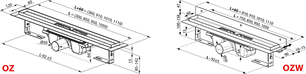 Душевой канал OZ RAVAK 10° 850  - stainless, X01576