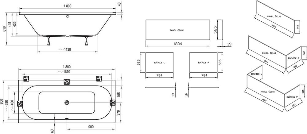 Ванна Ravak CITY SLIM 180х80 прямоугольная, C921300000