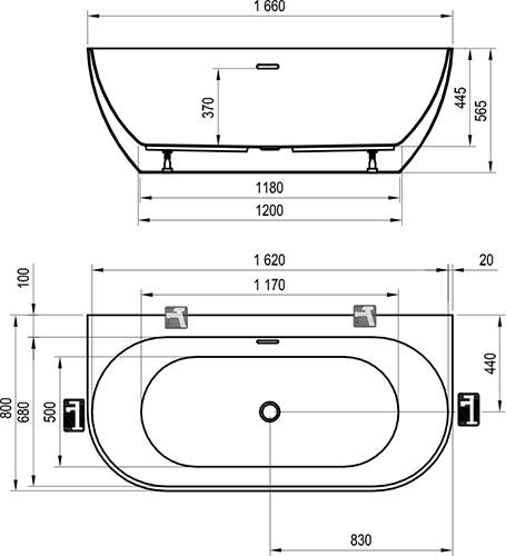 Ванна Ravak FREEDOM 166х80 отдельностоящая, XC00100024