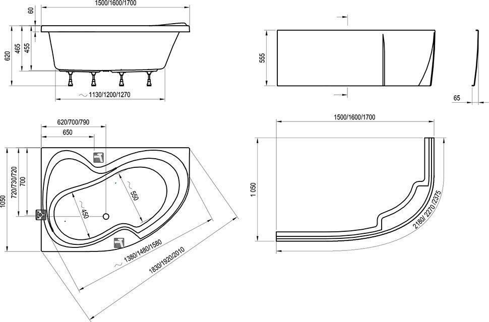 Ванна Ravak Rosa II 170х105 асимметричная левая, C221000000