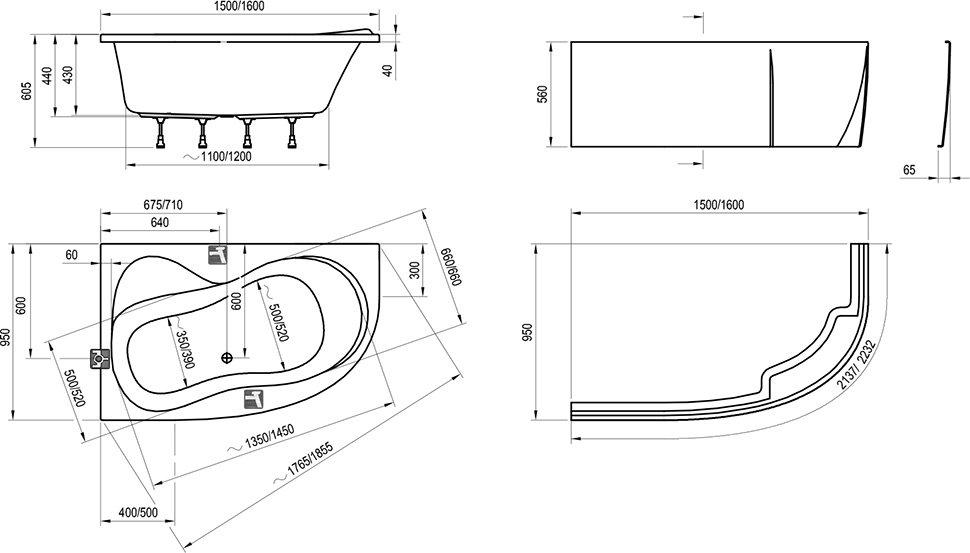 Ванна Ravak Rosa 95 150х95 асимметричная левая, C551000000