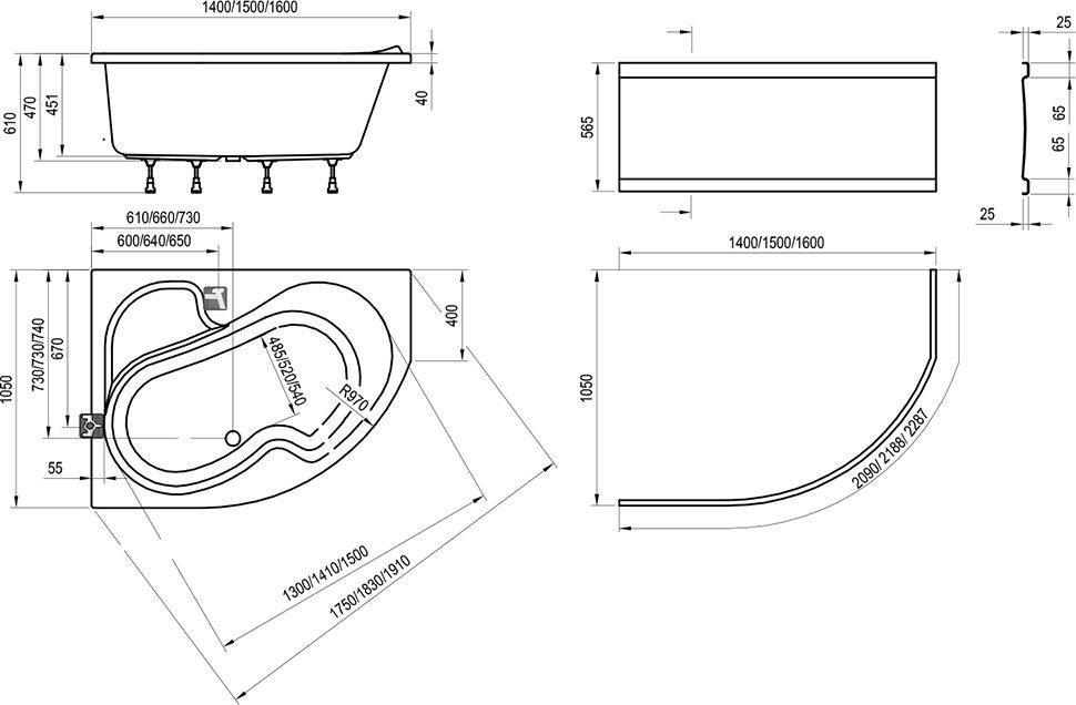 Ванна Ravak Rosa 160х105 асимметричная левая, CM01000000