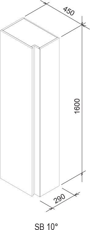 Шкаф боковой Ravak  SB 10° 450 тёмный орех, X000000753