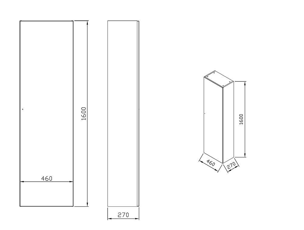 Шкаф боковой Ravak  SB Formy 460 L орех, X000001040
