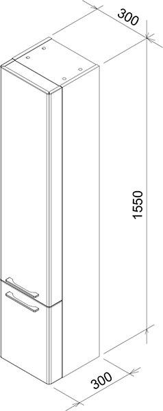 Шкаф боковой Ravak  SB 300 L Ring серый, X000000772