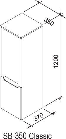 Шкаф боковой Ravak  SB 350 CLASSIC L каппучино/белый, X000000956