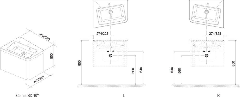 Тумба под умывальник Ravak  SD 10° 550 L серая, X000000740