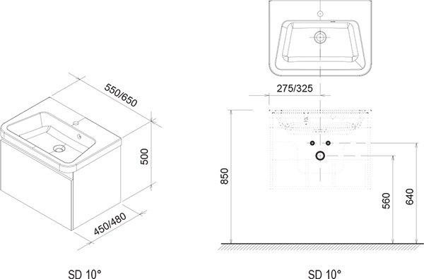 Тумба под умывальник Ravak  SD 10° 650 серая, X000000737