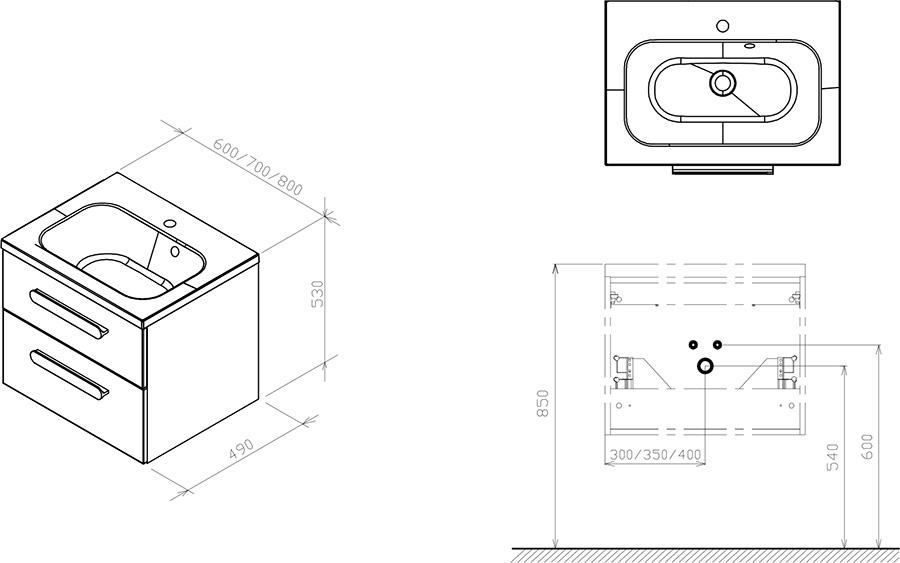 Тумба под умывальник Ravak  SD 600 CHROME II каппучино/белая, X000000919