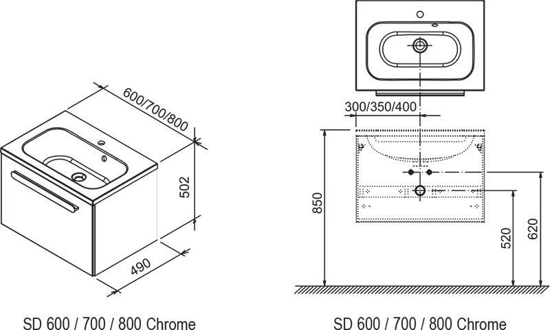 Тумба под умывальник Ravak  SDU 600 Chrome белая/белая, X000000530