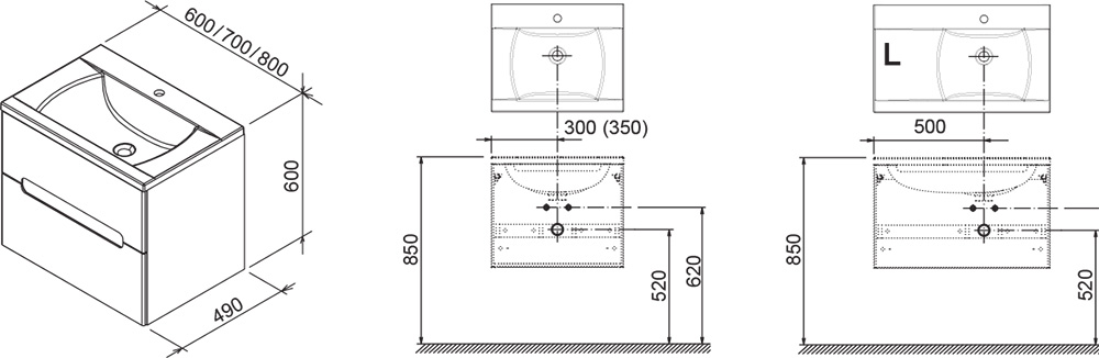 Тумба под умывальник Ravak  SD 800-L CLASSIC II каппучино/белая, X000000913