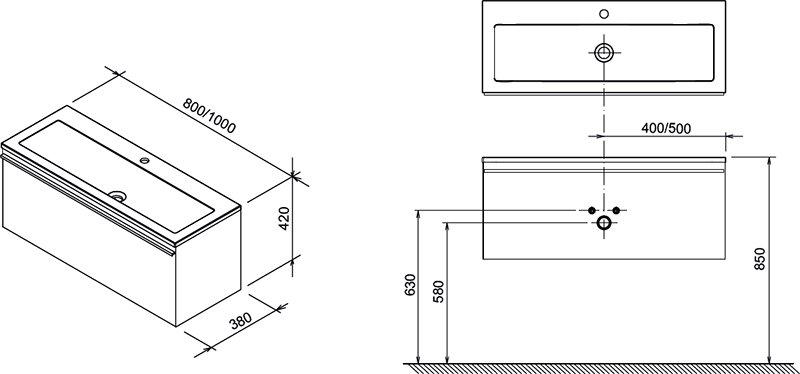 Тумба под умывальник Ravak  SD 1000 Clear белая/вишня, X000000760