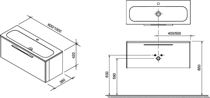 Тумба под умывальник Ravak  SD 1000 Ring серая, X000000770