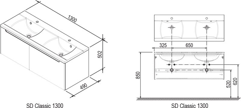 Тумба под умывальник Ravak  SD-1300 CLASSIC береза/белая, X000000423