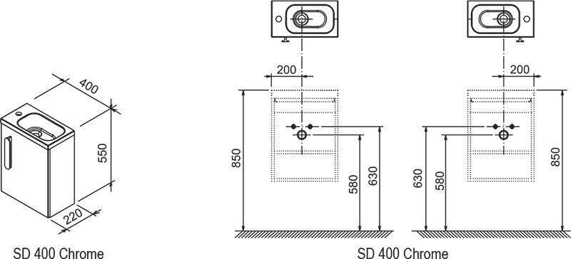 Тумба под умывальник Ravak  SD 400 CHROME каппучино, X000000965