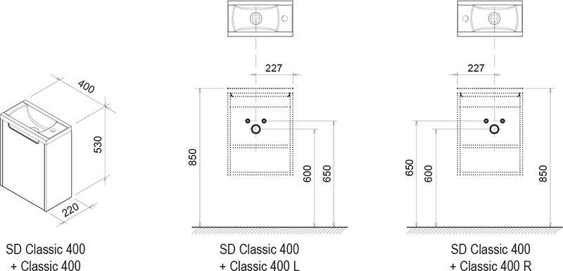 Тумба под умывальник Ravak  SD-400 CLASSIC каппучино, X000000959