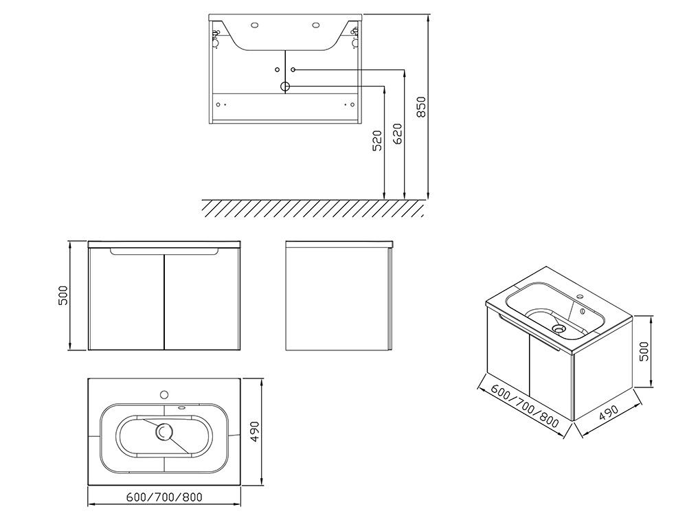 Тумба под умывальник Ravak  SDD Classic 800 латте/белый, X000001095