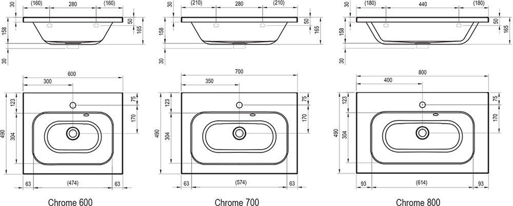 Умывальник Ravak Chrome 800 белый со скрытым переливом, XJG01280000