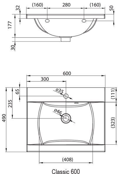 Умывальник Ravak CLASSIC 600 белый, XJD01160000