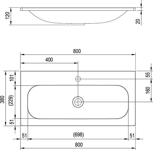 УмывальникRavak  Ring 800, XJK01180000