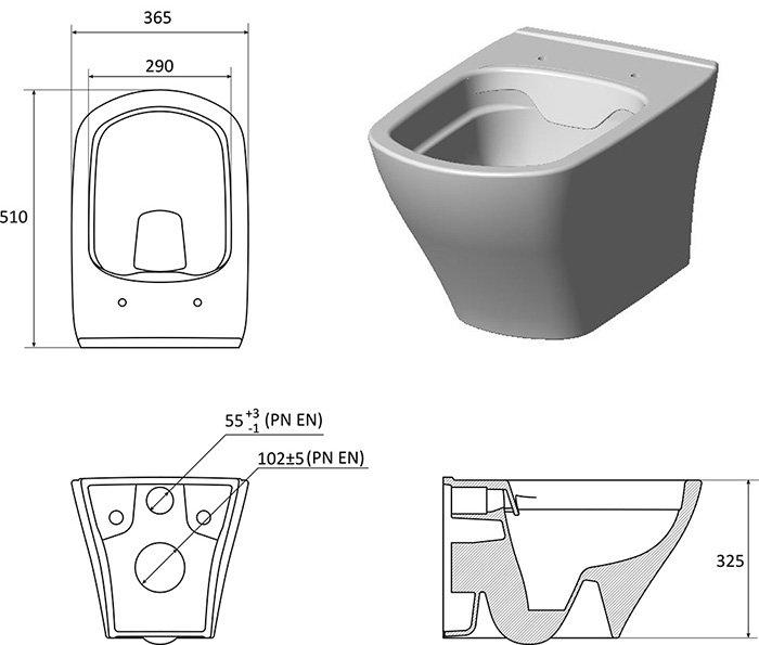 Унитаз подвесной CLASSIC RimOFF (безободковый) белый X01671, X01671