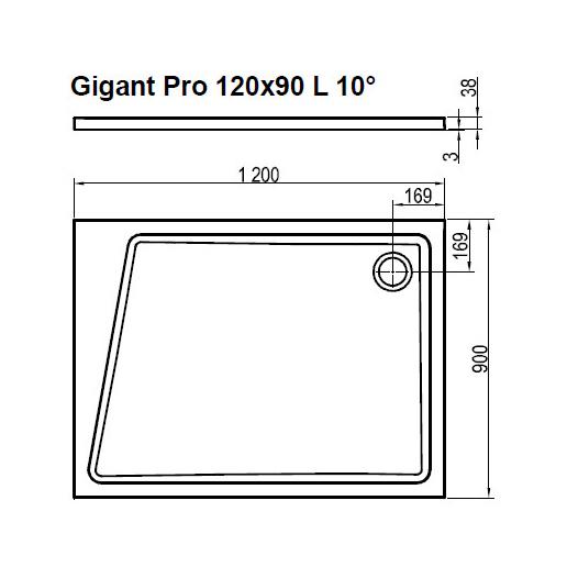 Поддон Ravak  GIGANT PRO 120x90 L 10° белый, XA05G70101L