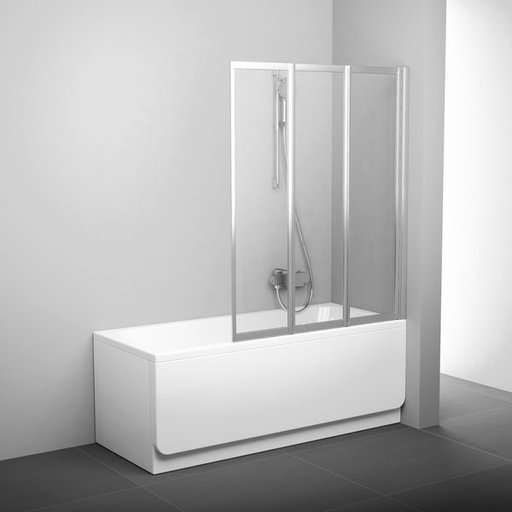 Шторка для ванны Ravak Supernova VS3 100, 1000 мм, цвет профиля - белый лак, витраж - эффект дождя, 795P010041