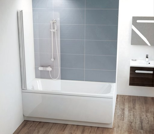 Шторка для ванны Ravak Chrome CVS1-80 L , 800 мм, цвет профиля - блестящий, витраж - прозрачный, 7QL40C00Z1