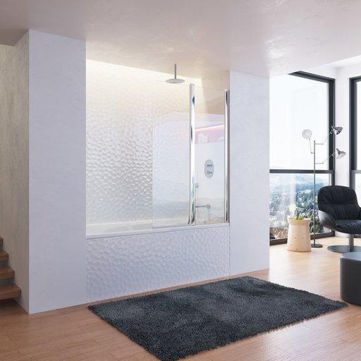 Шторка для ванны Ravak Chrome CVS2-100 R, 1000 мм, цвет профиля - сатин, витраж - прозрачный, 7QRA0U00Z1