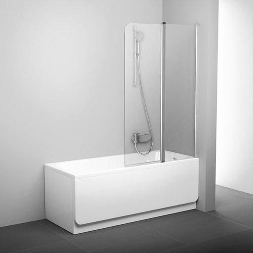 Шторка для ванны Ravak Chrome CVS2-100 R, 1000 мм, цвет профиля - белый лак, витраж - прозрачный, 7QRA0100Z1